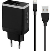 Mobiparts Wall Charger Dual USB 4.8A + Lightning Cable Black